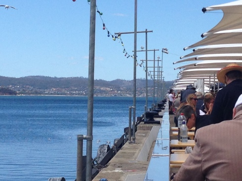Hanging out at the Taste of Tasmania. Perfect.
