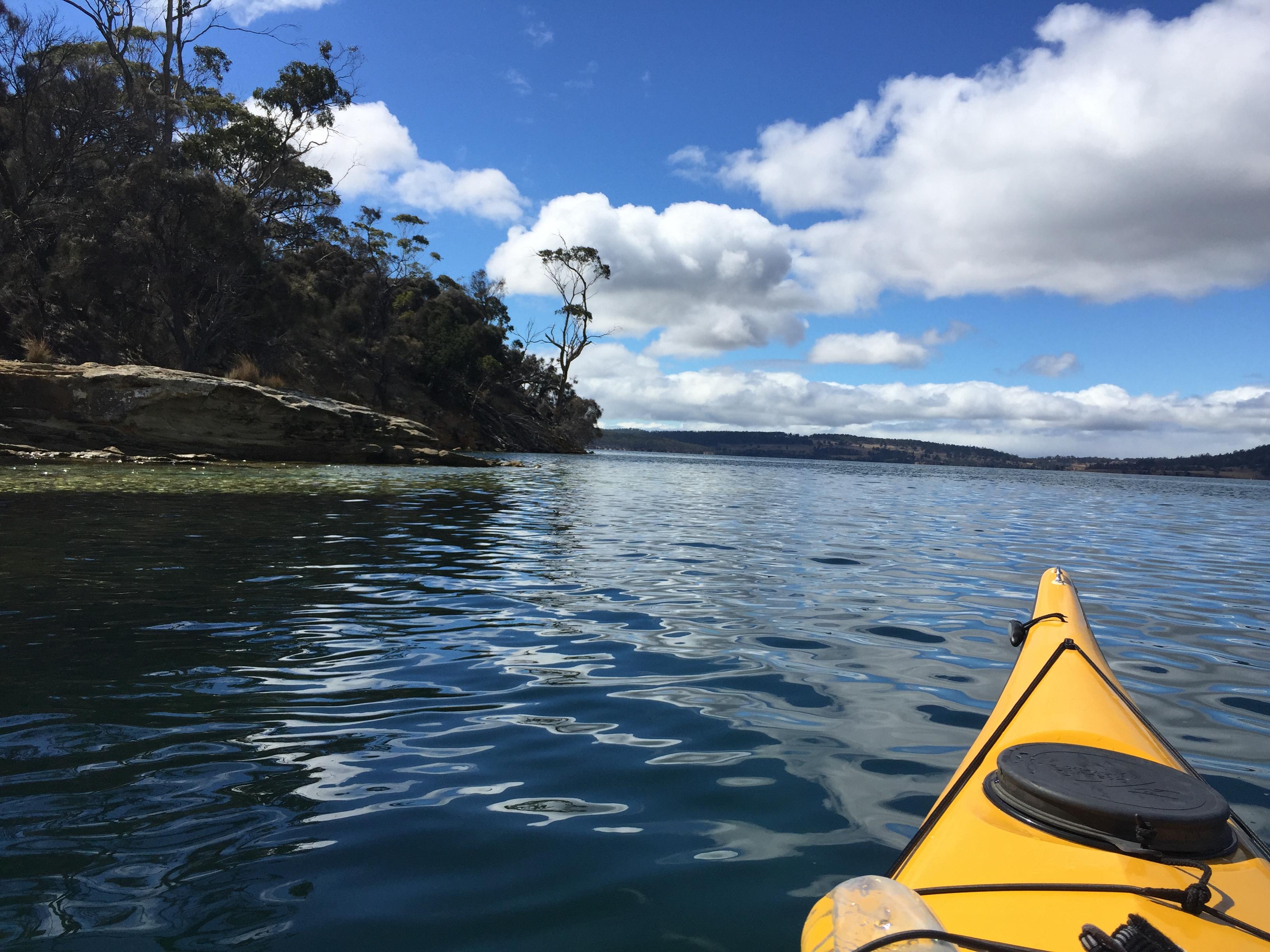 Kayaking on the Derwent, Tasmania